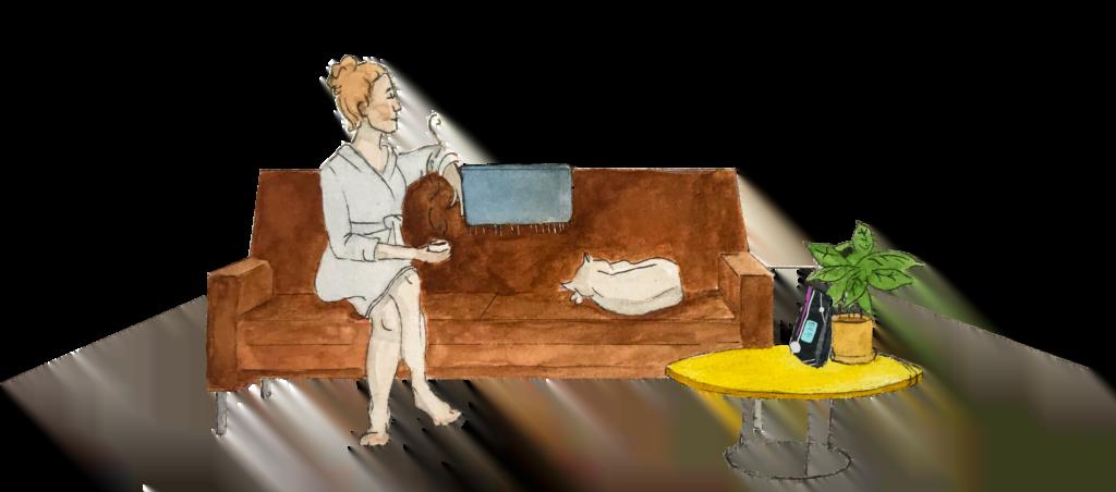 Illustrasjon sofa dame med katt